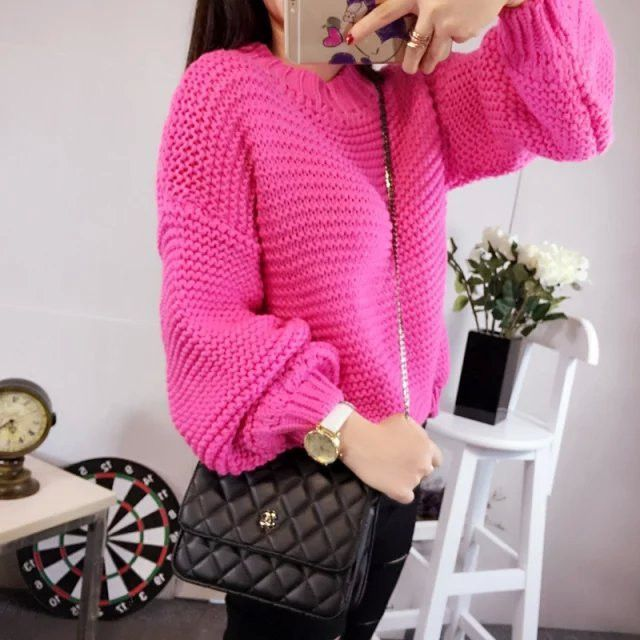 fc4021440 Solid Thick Crochet Pullover Loose Short Sweater