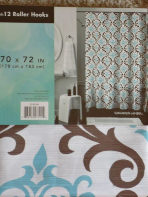 PERI Aqua Blue White U0026 Chocolate Brown Royal Paisley Shower Curtain