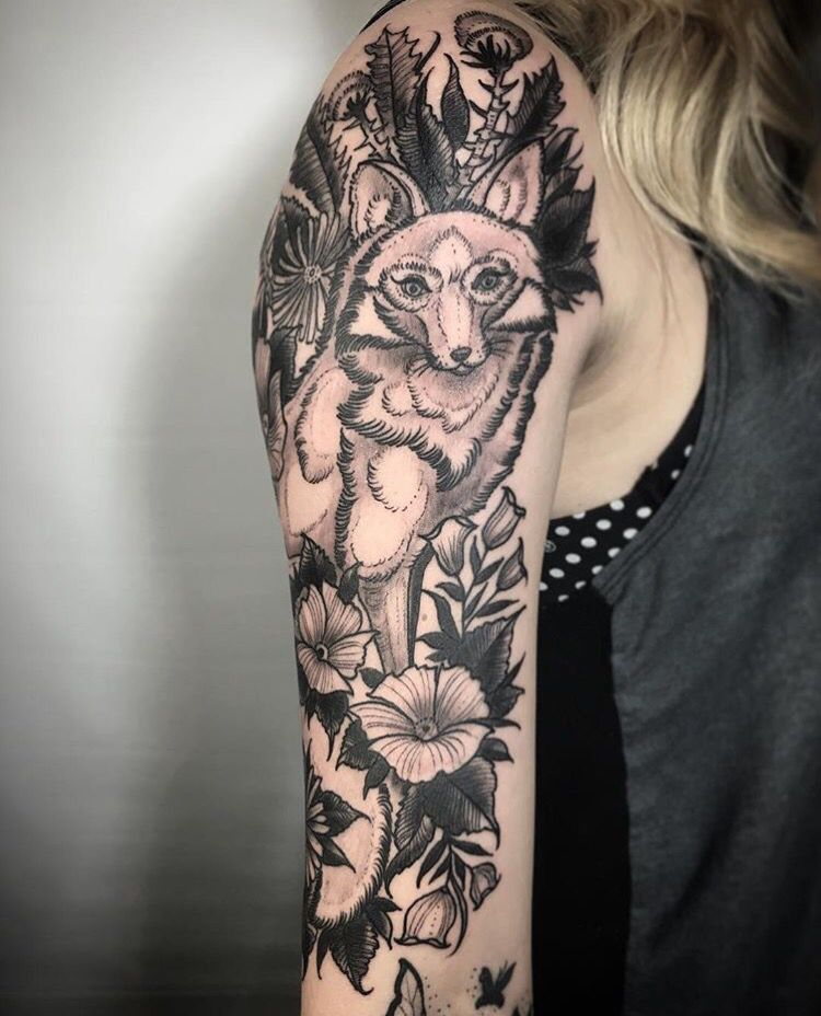 Floral Black And Grey Nature Tattoo: Fox Tattoo Flowers Black And Grey Sleeve Nature