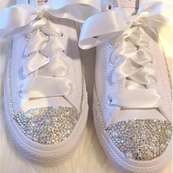 e942c08d7f92 Wedding Converse for the BRIDE with Swarovski Crystals and Pearls Chucks  Bedazzled Chuck Taylor All