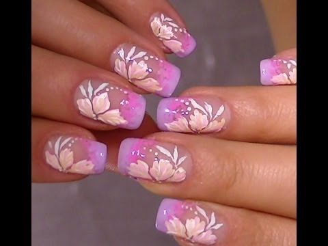 Hand Painted Nail Designs Vintage Pink Flower Video Nail Art