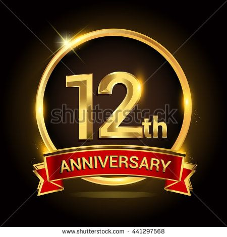 12th Golden Anniversary Logo 12 Years Anniversary Celebration With Ring And Red Ribbon Anniversary Logo 18 Year Anniversary Golden Anniversary