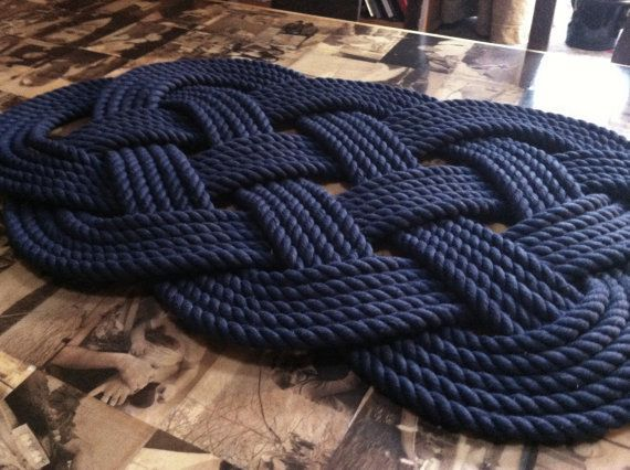 This Is Made From Navy Blue Cotton 1 2 Inch Rope It Is The Classic Ocean Mat Design Used Blue Bathroom Decor Navy Blue Bathroom Decor Nautical Bathroom Decor