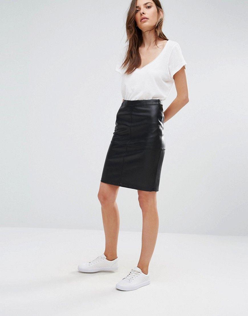 31f0c18a16 Image 1 of Vila Faux Leather Pencil Skirt