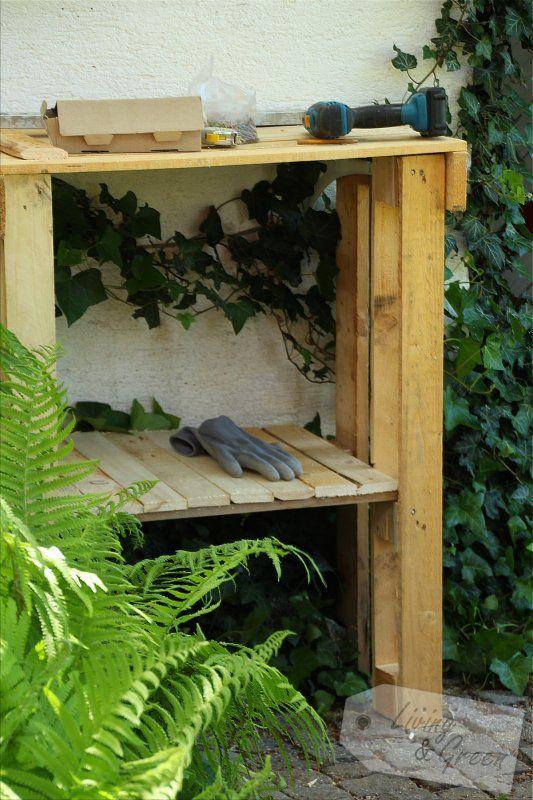pflanztisch aus paletten, pflanztisch aus paletten anleitung potting bench diy | diy garden, Design ideen