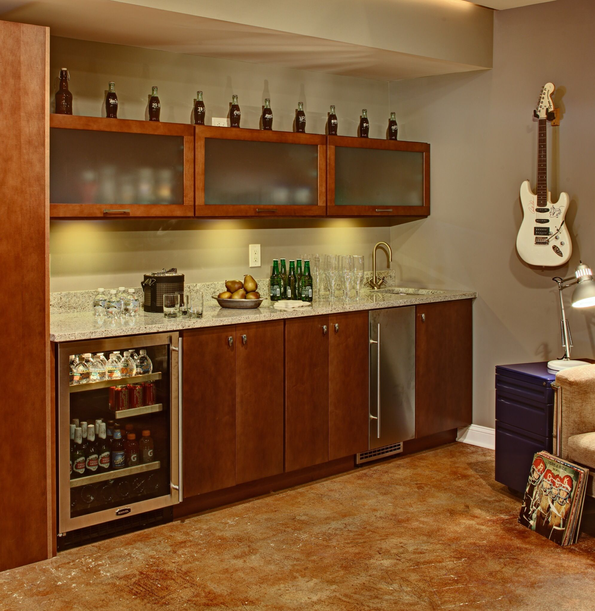 Reclaimed Retroed Cost Effective Cabinet System Installed To Create Functional Bat Wet Bar
