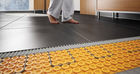 Ditra Heat By Schluter Is An Electric Floor Warming System That Uses Uncoupling Technology To Prevent Cra Floor Heating Systems Heated Floors Heated Tile Floor