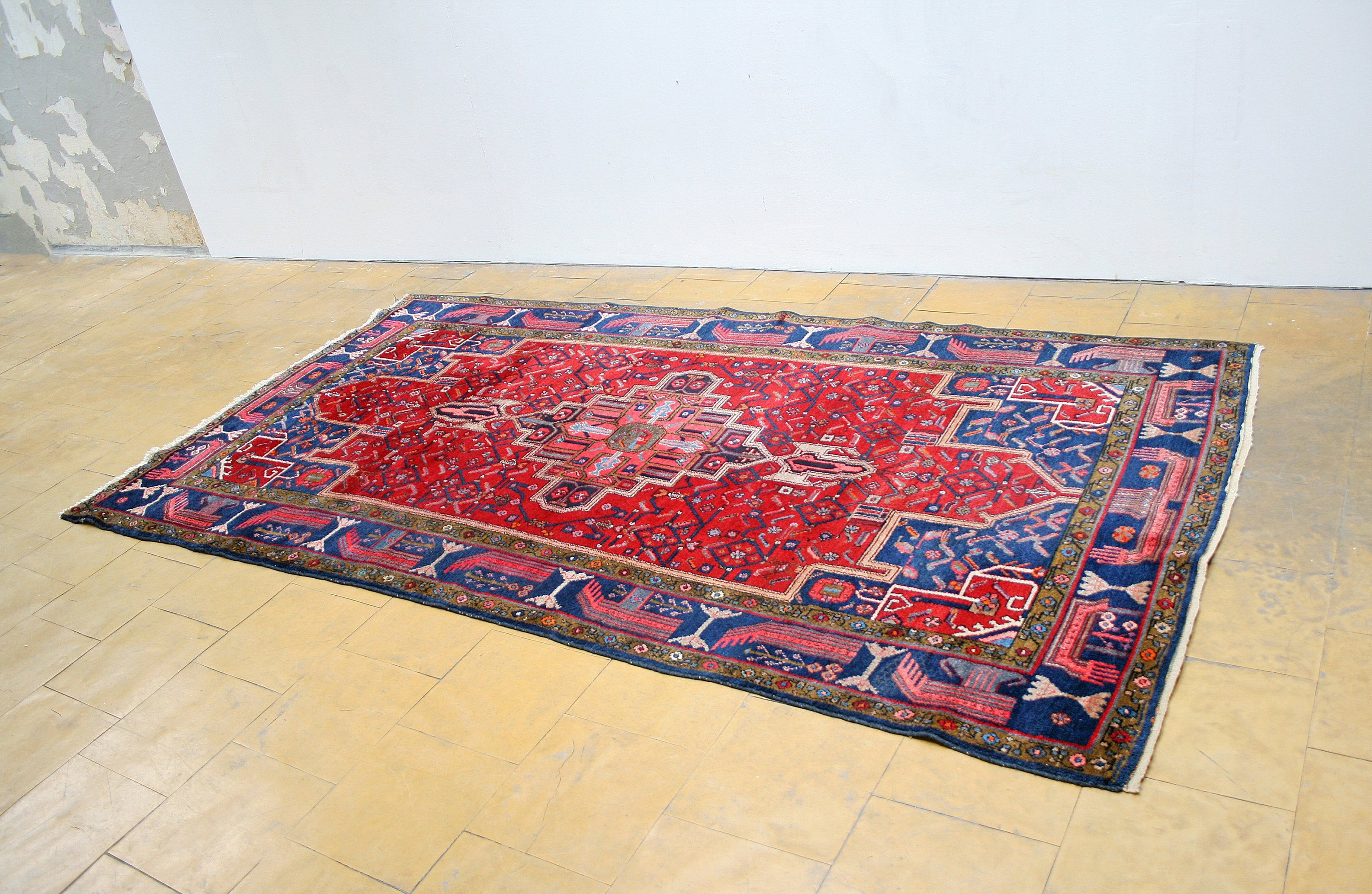 Large Vintage Ruby Red Pink Navy Blue Anatolian Turkish Area Rug Wool Woven Knotted Oriental Retro Boho Bohemian Eclectic Loft Traditional Red And Pink Wool Area Rugs Vintage