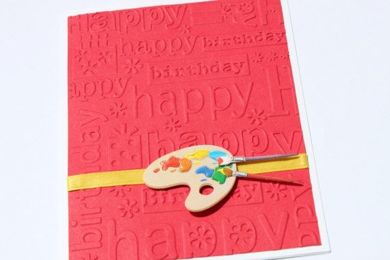 Artist Birthday Card Red Embossed Handmade Cards By Royal