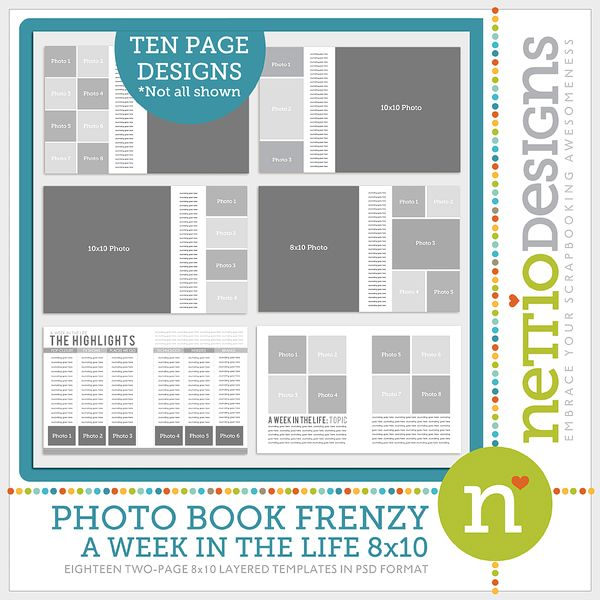 Photo Book Frenzy 8×10 Templates | Template, Project life and Books