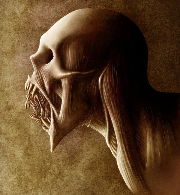 Guhi Monster Eating People Creatures Horror Art Fantasy Creatures
