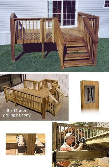 Mobile home deck gallery home modular wood deck kits for 10 x 8 deck plans