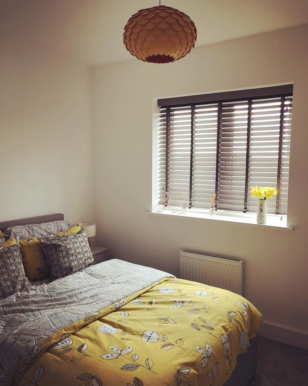 Bedroom blinds.. Also love a bit of yellow and grey