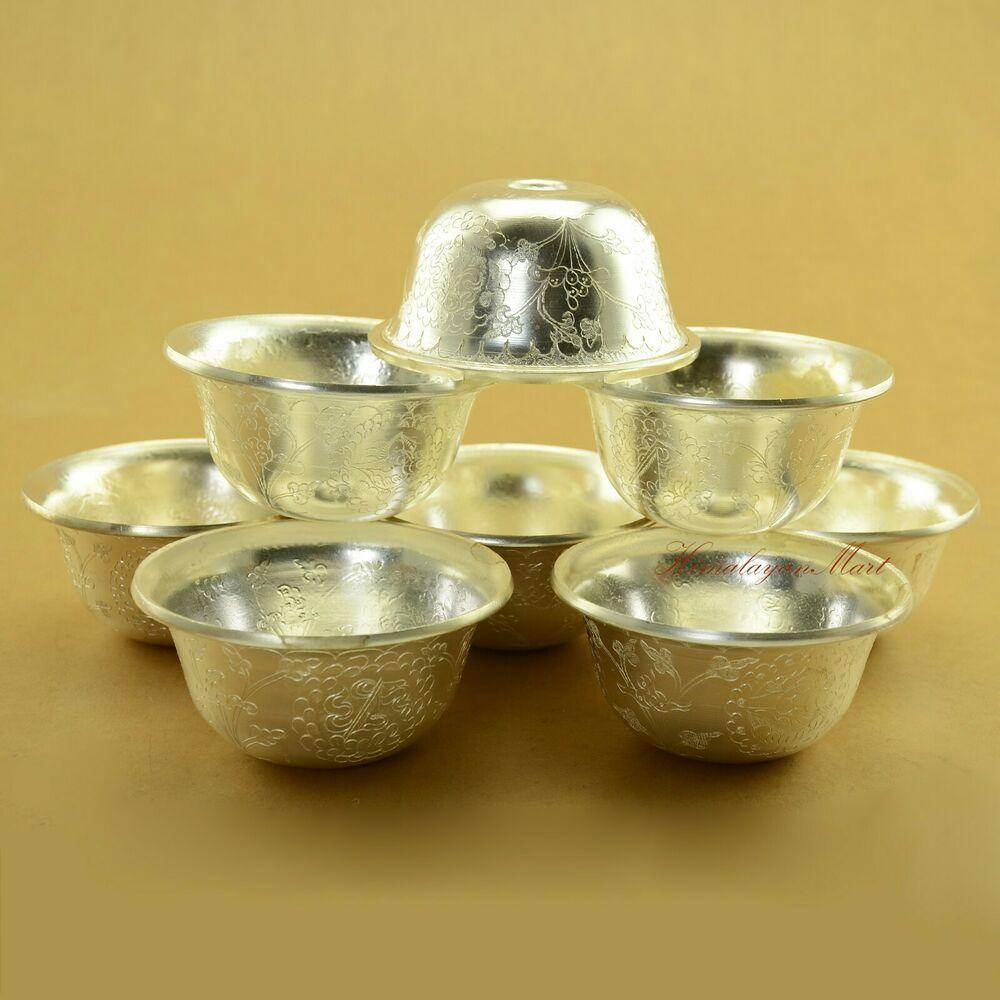 """4.53/"""" Tibet Tibetan style Beeswax Tibetan Silver Handmade Butter Offering bowl"""