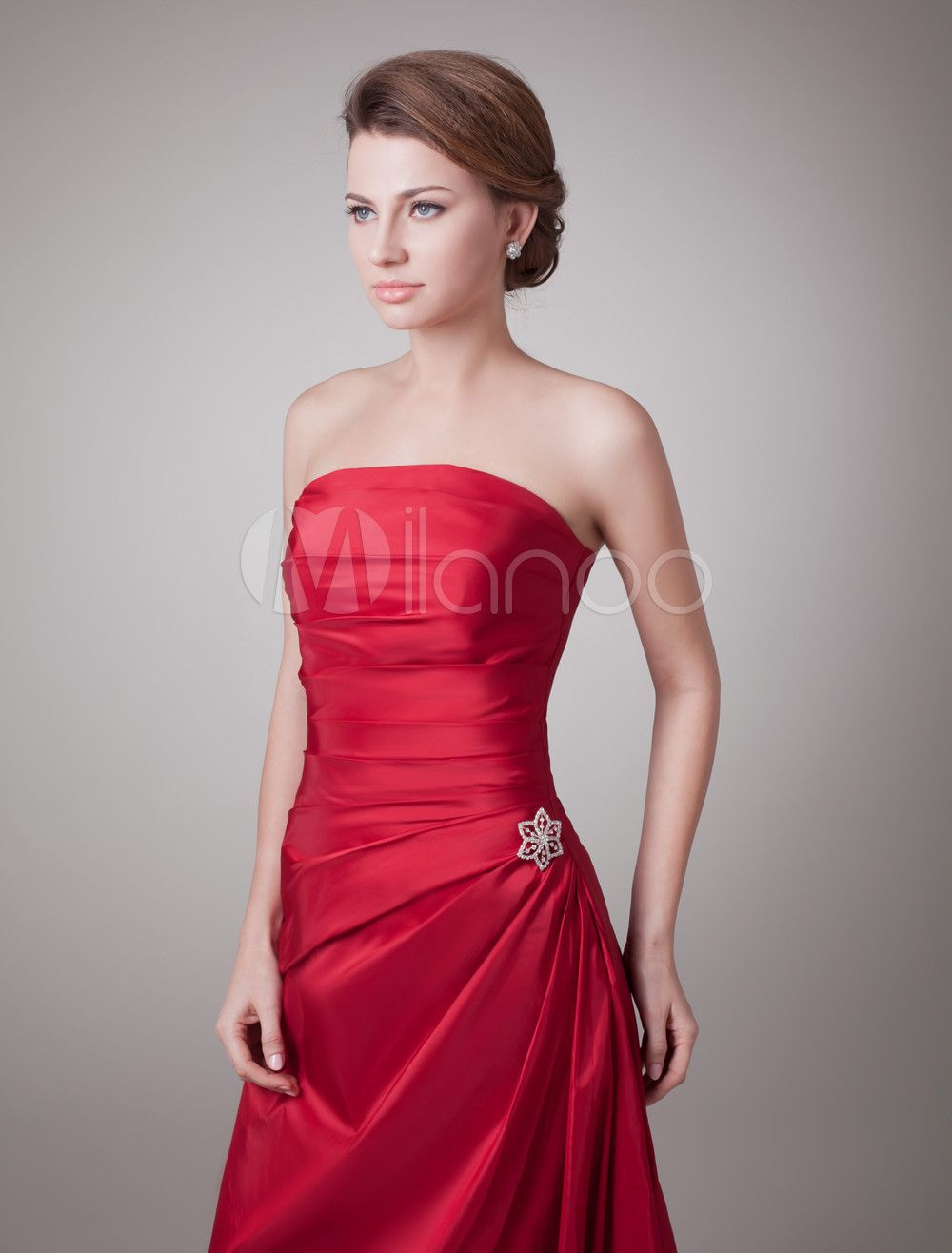 3523fd1ddb17 Strapless Ruched Dress With 3 4 Length Sleeves For Mother of Bride Wedding  Guest Dress