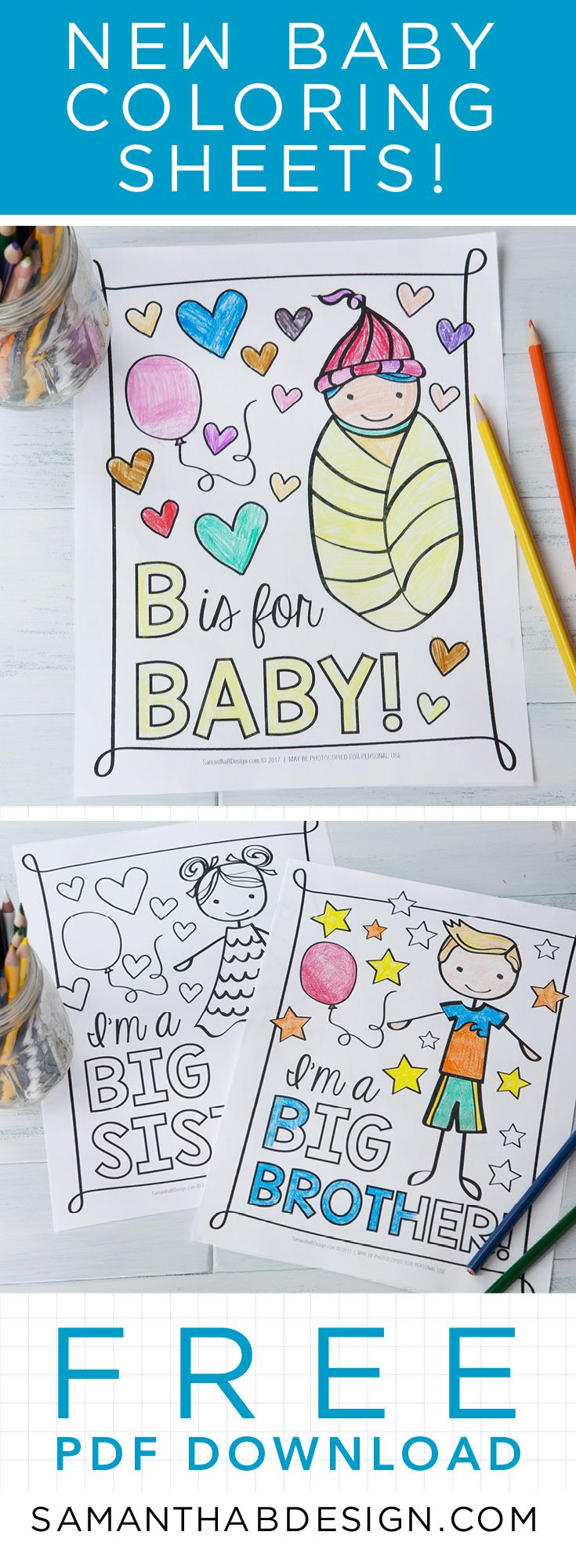 Coloring Sheets perfect for Big Brother, Big Sister, Cousins and ...