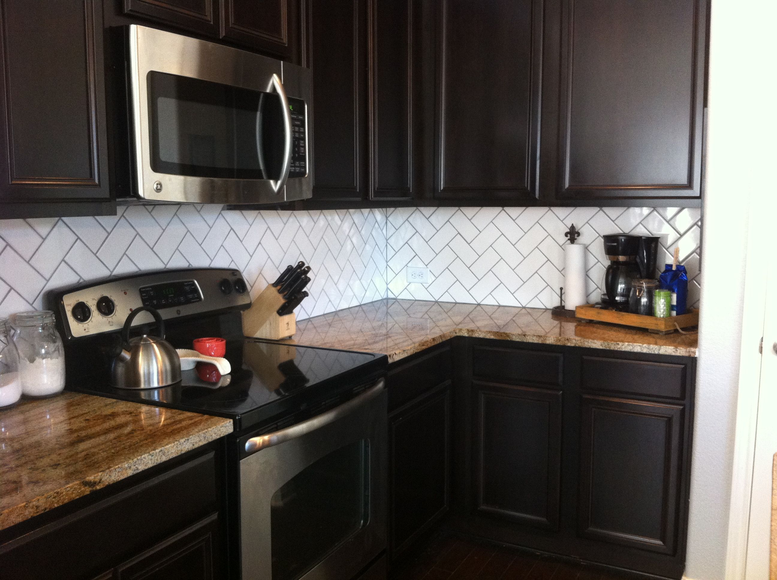 Backsplash Drab To Fab Backsplash With Dark Cabinets Dark Kitchen Espresso Kitchen Cabinets