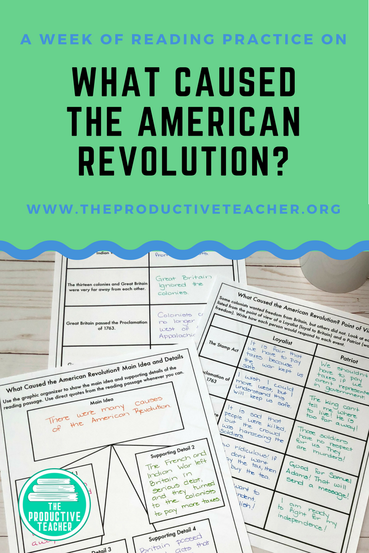Worksheets Social Studies Reading Comprehension Worksheets informational text reading passage set causes of the american are you looking for a way to combine and social studies this is all about many r