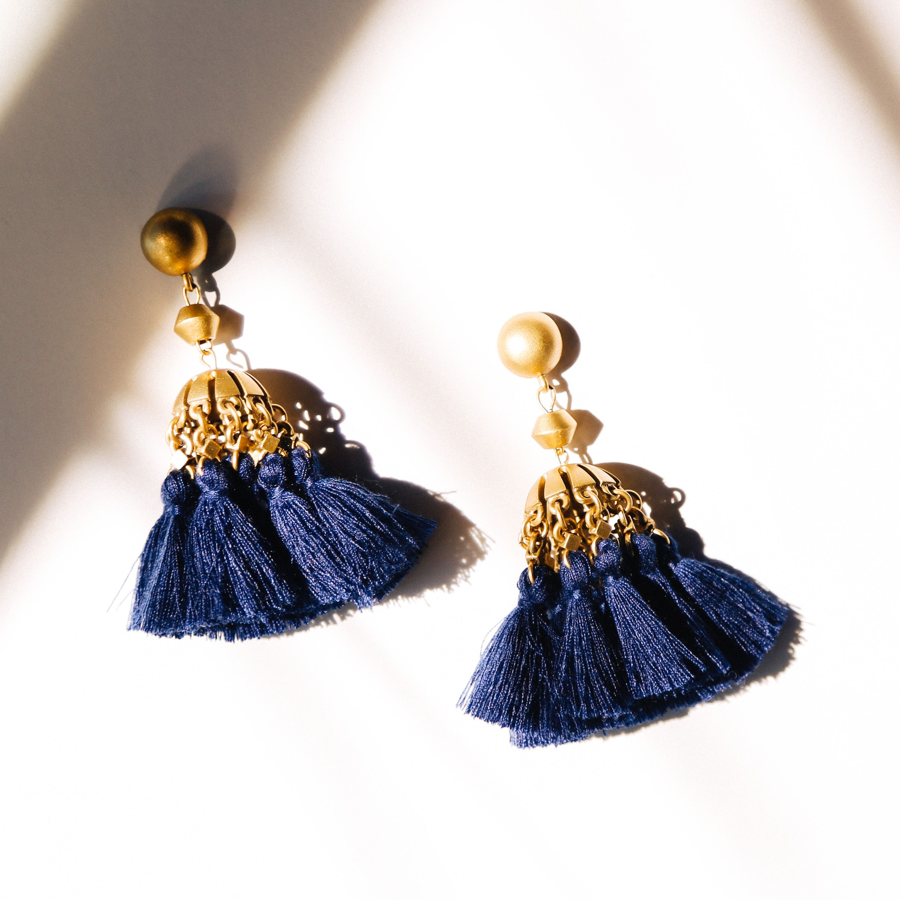 56d6c2c2f Loren Hope Audrey tassel earrings in navy. // | The Jewels | Tassel ...