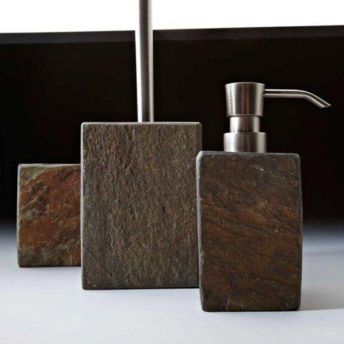 Accessoires salle de bains (3 modèles) polyrésine effet ardoise ...