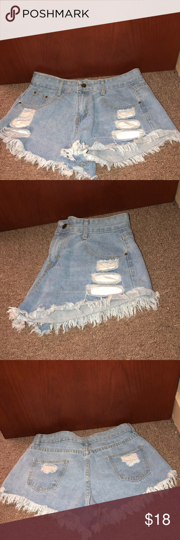 Distressed light blue jean shorts Good condition  90% Cotton  10% Spandex Shorts Jean Shorts #lightblueshorts