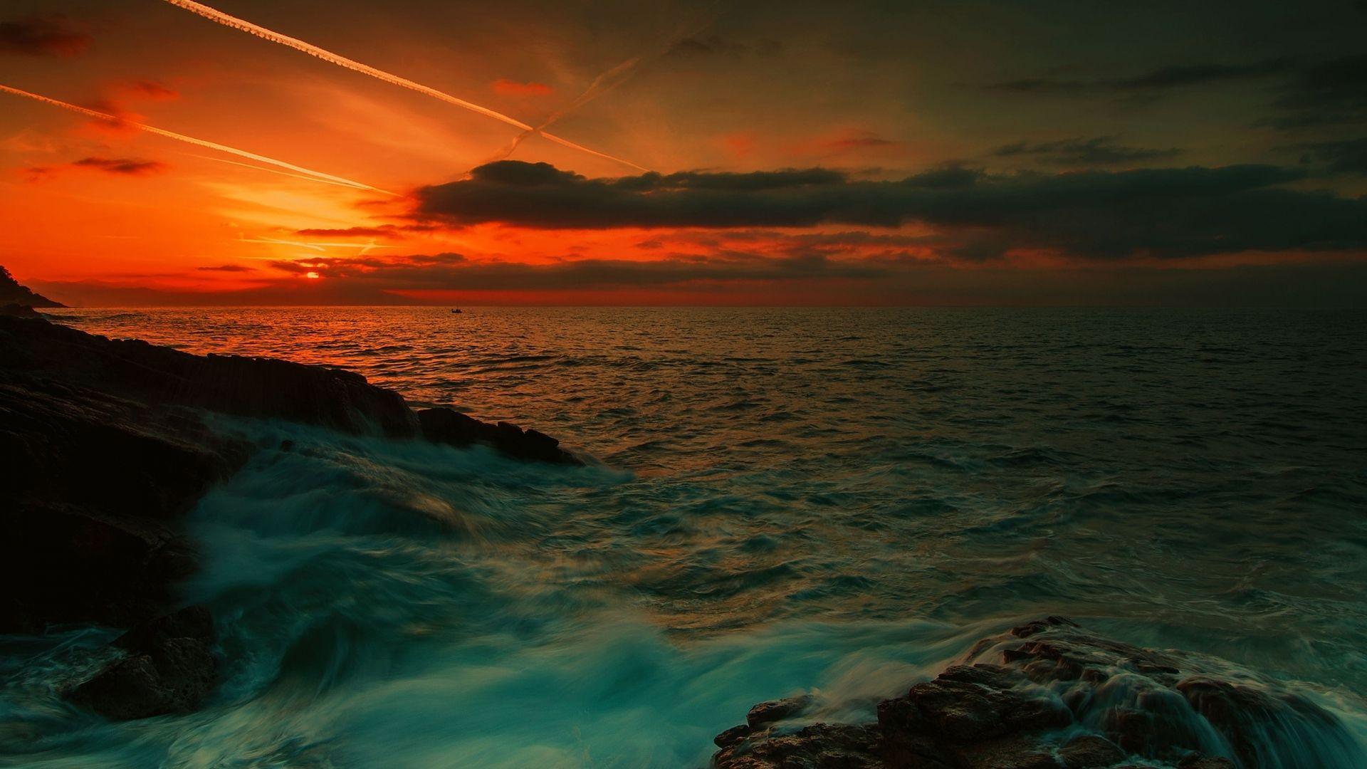 Download Wallpaper 1920x1080 Sea Waves Night Rocks Full Hd 1080p Hd Background Beach Desktop Backgrounds Sunset Wallpaper 1920x1080