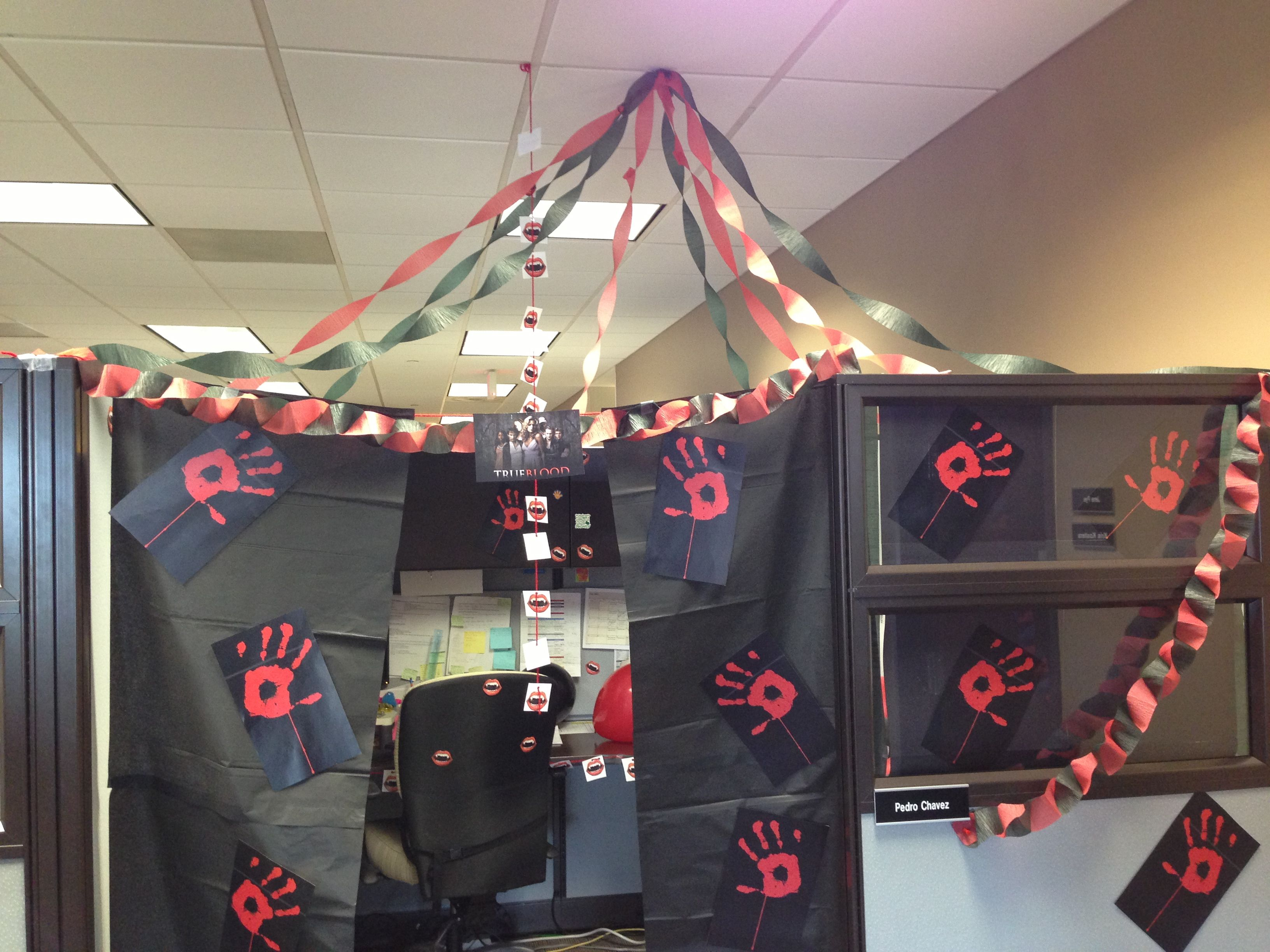 True blood inspired cubicle decorations done to a co for Cool stuff for your cubicle