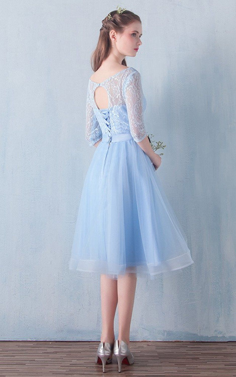 Vimans elegant womens lace and tulle bridesmaid gown short blue