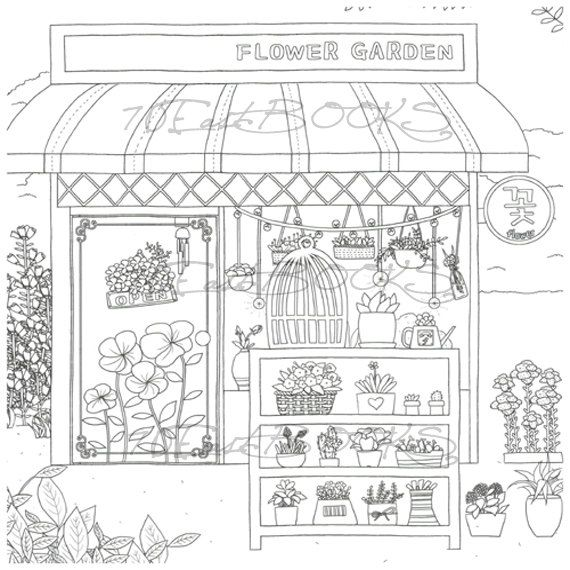 Fantasy Store coloring book for adult decorate your own shop