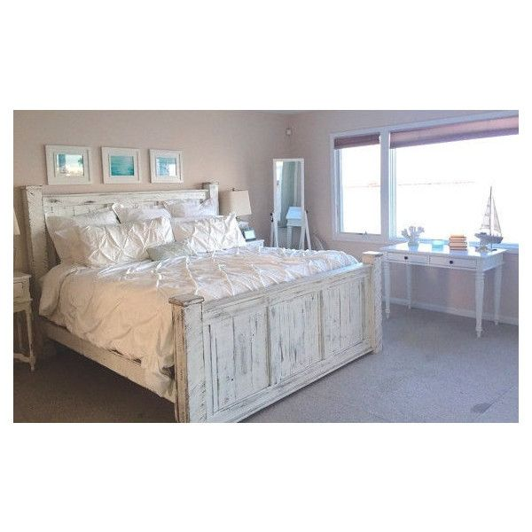 White Washed Beach King Size Bed Frame 950 Liked On Polyvore