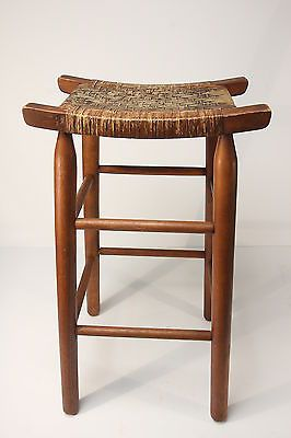 "Vintage Wood Oak Maple Bar Chair Tall Stool w Woven Cane Seat 29 1 2"" Tall"