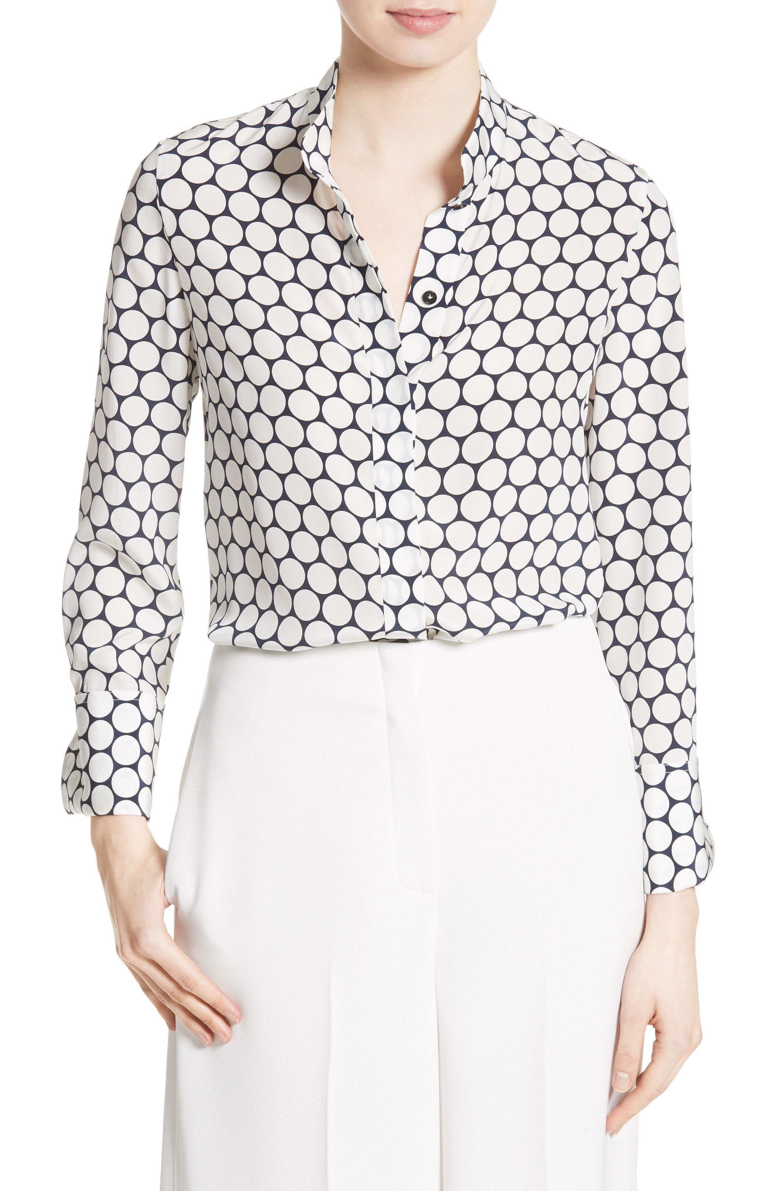 Buy Cheap Order Discount 100% Original Shirred Polka-dot Silk Top - White Diane Von Fürstenberg k4Z4Ww