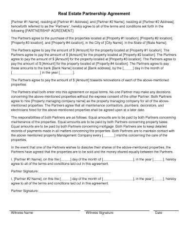 Real Estate Partnership Agreement destop Pinterest - Sample Business Partnership Agreement