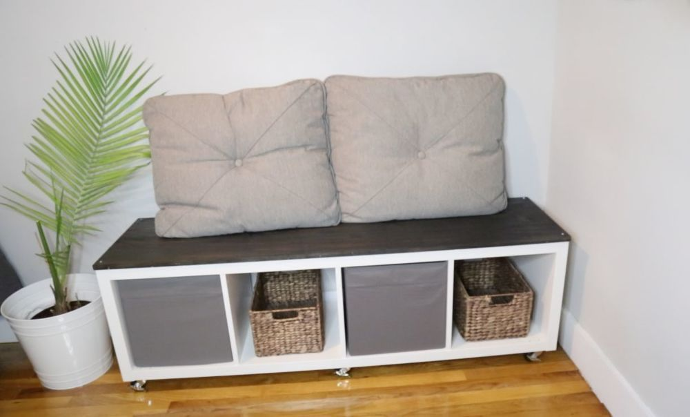 How to Build an IKEA KALLAX Storage Bench DIY images