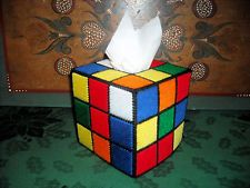 "RUBIKS CUBE TISSUE BOX COVER As seen on ""Big Bang Theory"" Plastic Canvas"