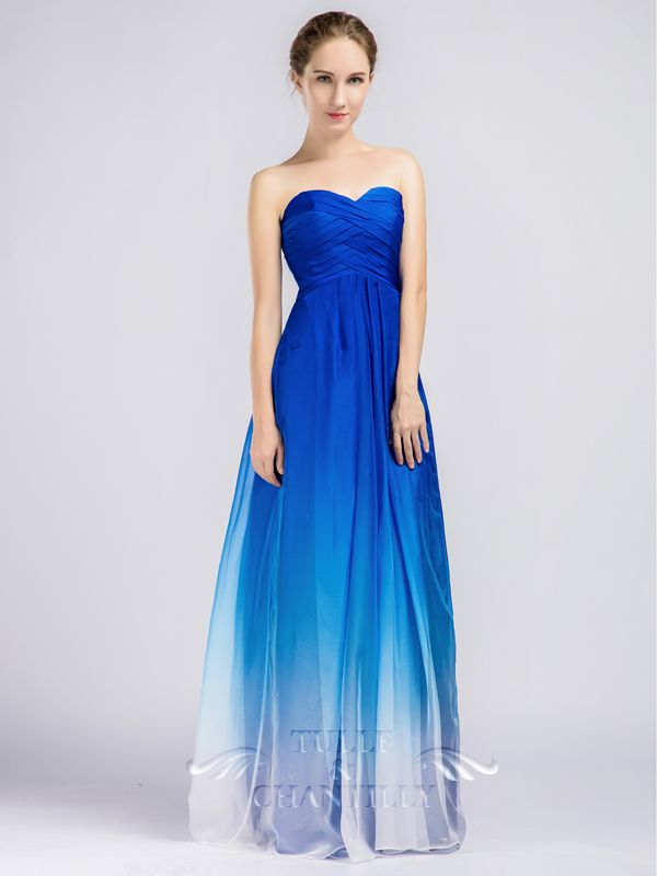 Blue ombre strapless sweetheart long bridesmaid dresses for Long blue dress for wedding