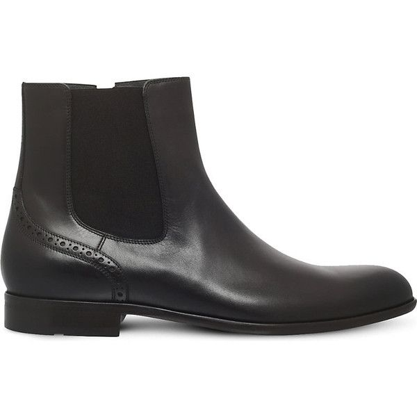 Hugo Boss Manhattan leather chelsea boots 6733190 BYR ? liked on Polyvore  featuring men's