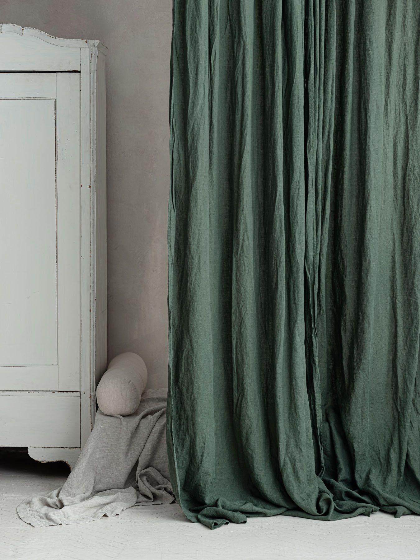 Dark Green Linen Curtains Linen Curtain In Green Forest Green