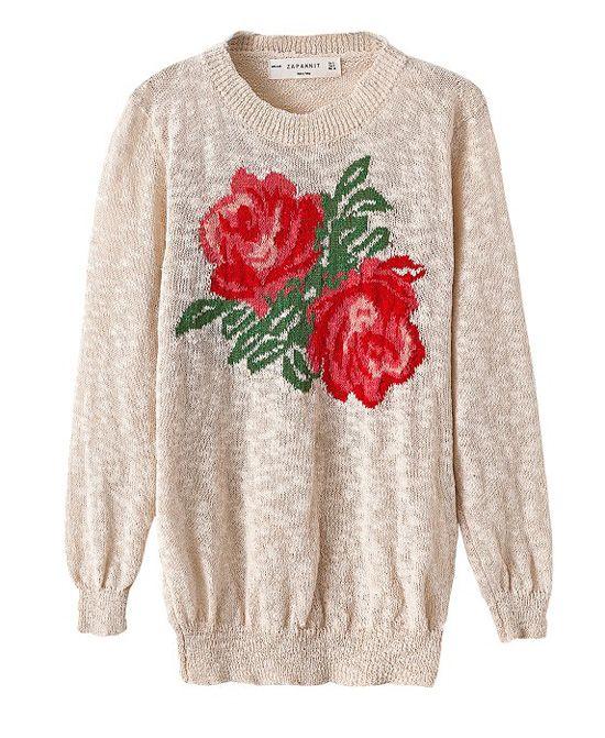 94b404e4bf983d Vintage Rose Print Slim Fit Knitwear | Warm Me Up, Buttercup ...
