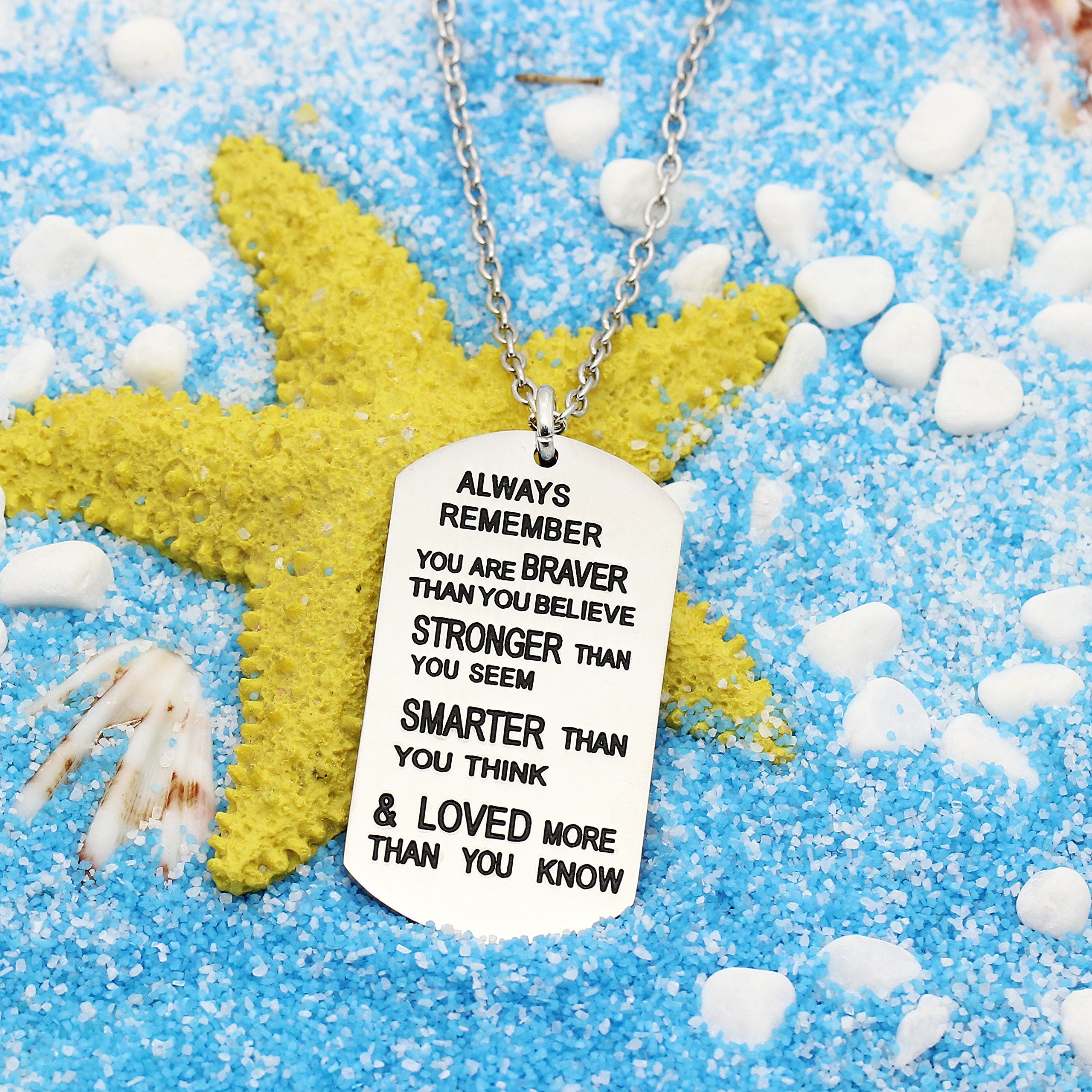 Remember You Are Braver//Stronger//Smarter Than Think Pendant Necklace Family Gift