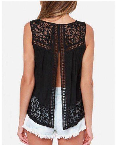 9c7d60769e9c1 Plain black lace tops for women sleeveless t shirt fork design