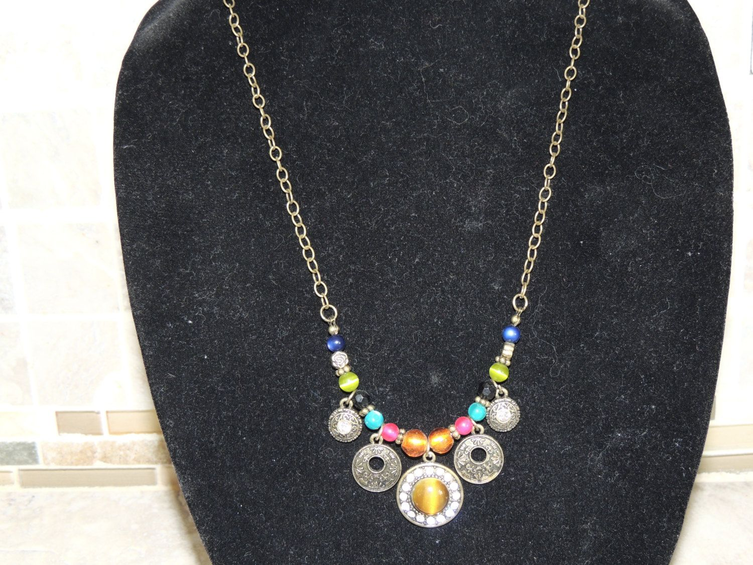 Beautiful necklace, multi colored beads, Boho- Tribal inspired style.  Great mothers day gift. by GabiLuBoutique on Etsy