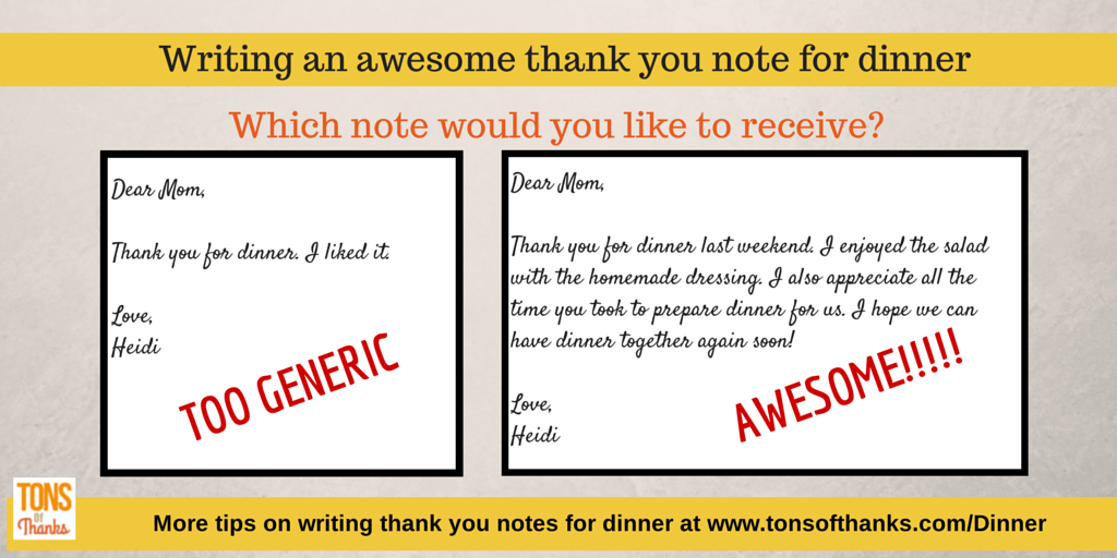 write an awesome thank you note for dinner dinner party