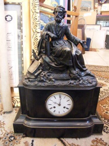 horloge de chemin e en bronze et marbre galil e xix me. Black Bedroom Furniture Sets. Home Design Ideas