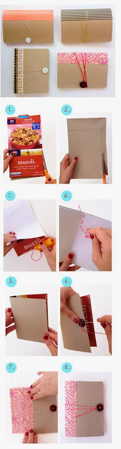 Diy Mini Notebook From Cereal Box Manualitats Pinterest