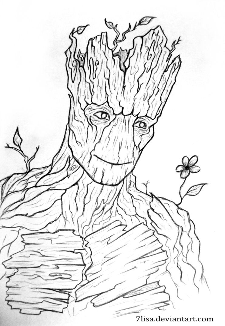 I am Groot Marvel drawings, Avengers drawings, Outline