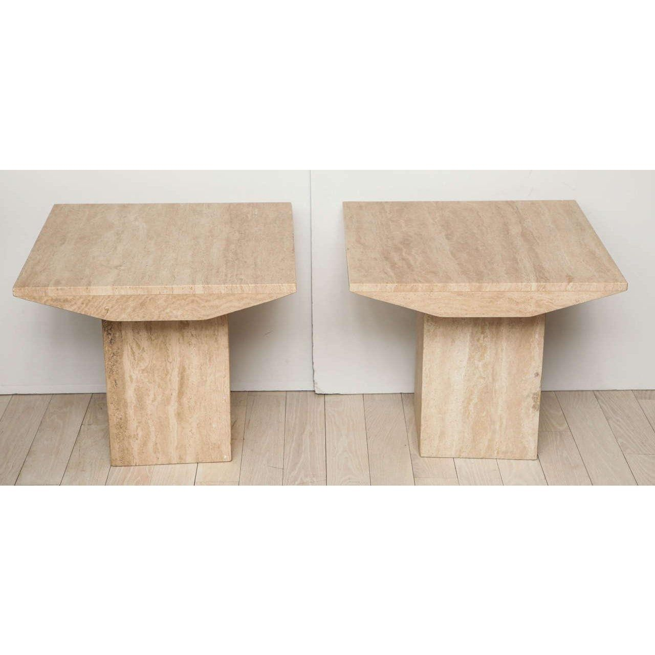 Pair Of 1970 S Square Travertine Side Tables Size 23 5 W 23 5