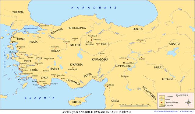 Antik Çağ Anadolu Uygarlıkları Haritası