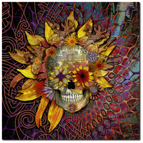 Floral Sugar Skull - Canvas Print - Solid Surface with Fully Finished Back and UV Coating - Origins Botaniskull - Fusion Idol - Art and Gifts by Artist Christopher Beikmann - 1