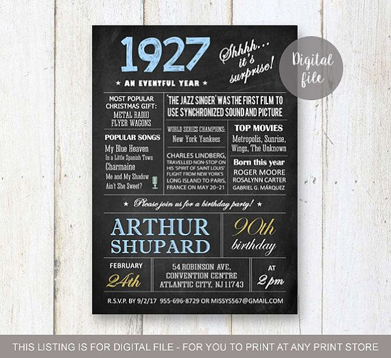 Surprise 90th Birthday Invitations Chalkboard By LillyLaManch